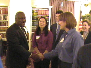 Clarence Thomas with a prospective speech-writer: The Justice with Windy Booher, along with Andy Sagor, Nancy Kwang, and Paula S