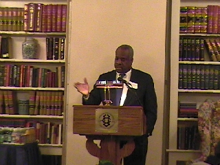 Clarence Thomas at the podium