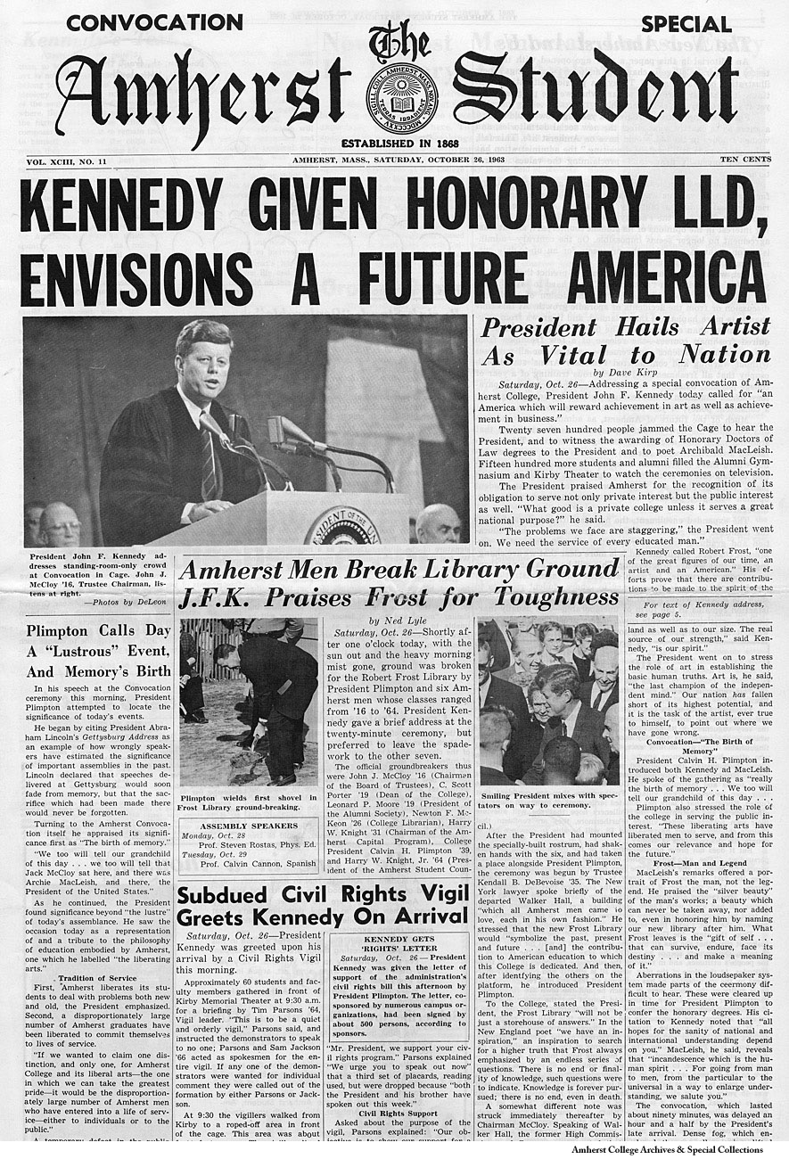 The Amherst Student, front page, special convocation edition, October 23, 1963. Headline,