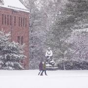 Amherst College in the snow