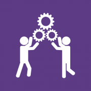 An icon of two people holding up gears
