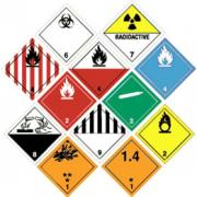 A series of warning safety diamonds