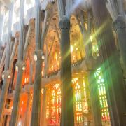 The stunning stained glass inside the Familia Sagrada.