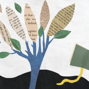 An illustration of a tree with book pages as leaves