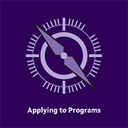 A logo with a compass that says Applying to Programs