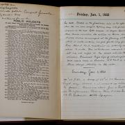 A photo of a diary opened up to a page from January 1, 1932