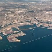 aerial view of breakwall and city of Long Beach