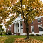 Chapin Hall with an autumn tree in front