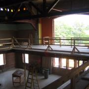 The interior of a building under construction.