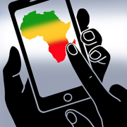 Graphic of a map of Africa on a cell phone