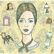 An illustration of Emily Dickinson surrounded by household objects