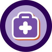 A logo of a medical bag