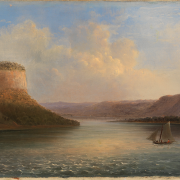 A painting of a river landscape with a small boat on the water
