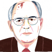 Illustration of Gorbachev by Rebecca Clarke