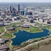 aerial view of the city of Omaha