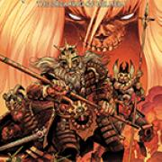 The cover of a comic book called Ragnarok with a warrior and a dragon