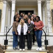 SWAGS faculty, staff, and students on the front steps of Grosvenor House in March 2020