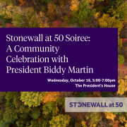 Social Media Poster for Stonewall at 50 Soiree. Fall Foliage in background with purple rectangle in foreground, white text.