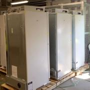 """New """"green"""" freezers being moved into the new Science Center"""