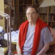 Poet Richard Wilbur in his home study