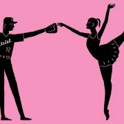 Black silhouettes of a dancer and a baseball player against a pink background
