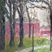 painting by Nancy Meagher, Amherst College quadrangle, buildings, trees, grass, walkway, lamppost