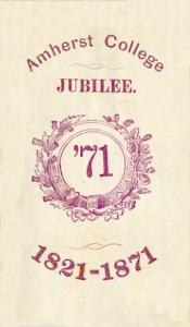 Admission ticket to public exercises held on the day before Commencement in 1871