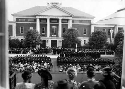 Commencement ceremony outside Alumni Gymnasium, 1947