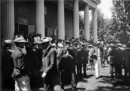 Commencement crowd in front of College Hall, 1930s