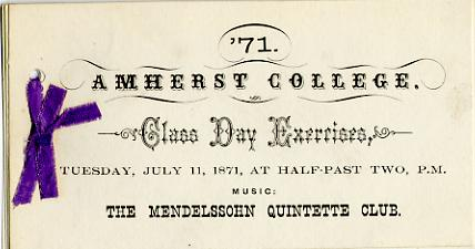 Class Day musical entertainment, 1871