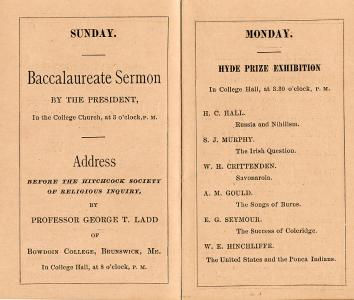 From the 1881 Commencement Week schedule of events