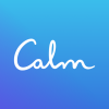 word calm on blue background