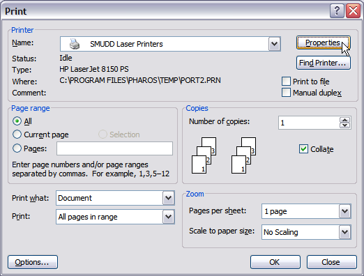 screenshot of the printing options highlighting the properties button which you must click in